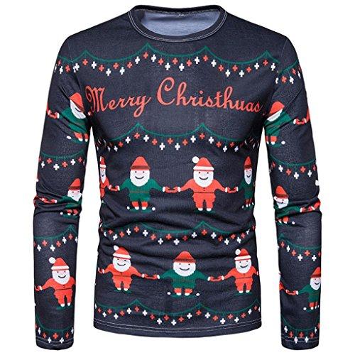 Elecenty Herren Sweat Pullover Hemd ,Langarmshirts Aufdruck Weihnachten Aufdruck V-Ausschnitt Multicolor Knopf Herbst Winter Bluse Poloshirt Männer Hoodie Sweatshirt (L, Bunte 4)