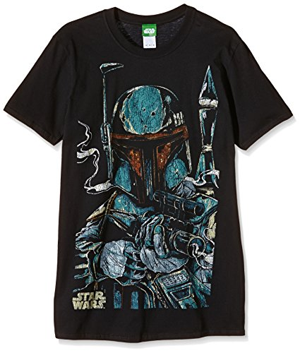 Bravado Herren T-Shirt Star Wars-Boba Fett Sketch, (Schwarz 001), Medium