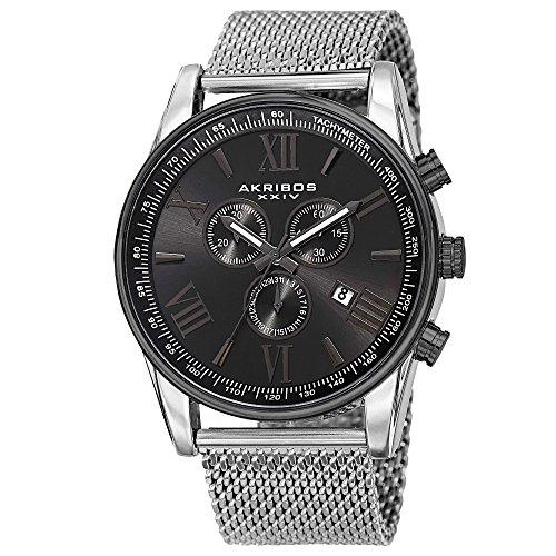 Akribos XXIV Omni Mens Dress Watch - Round Radiant Sunburst Dial - Swiss Chronograph Quartz - Stainless Steel Mesh Strap - Silver