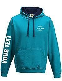 CUSTOM TEXT printed on personalised contrast varsity hoodie, make your own varsity hoodie Printed Contrast Hoodie Hawaiian blue/Oxford Navy