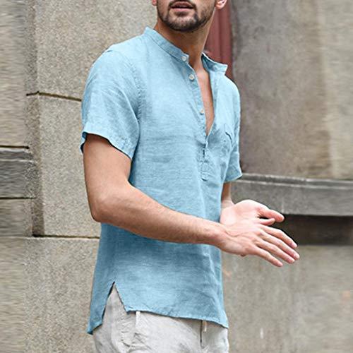 ZHANSANFM Leinenhemd Herren Kurzarm V-Ausschnitt Hemd Sommer Leicht Button Down Regular Fit Henley Freizeithemd (S, Hellblau)