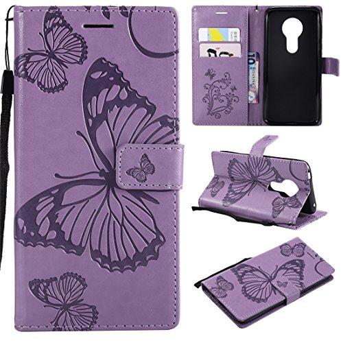 Hozor Motorola Moto E5 Handyhülle, Retro Großer Schmetterling Muster PU Kunstleder Ledercase Brieftasche Kartenfächer Schutzhülle mit Standfunktion Magnetverschluss Flip Cover Tasche, Lila
