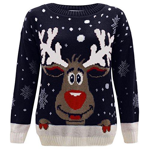 Janisramone - Jersey Navidad para niños niñas, diseño reno, manga larga, diseño Retro, jersey de invierno Navy - Reindeer 11-12 Años