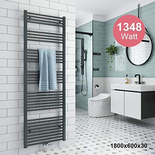 Badheizkörper 1800x600mm Handtuchtrockner Heizkörper 1348 Watt Anthrazit Bad Mittelanschluss Handtuchwärmer Heizung Radiator