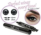Eyeliner Stamp – WingLiner by Vogue Effects Black, waterproof, smudgeproof, winged long lasting liquid eye liner pen, Vamp style wing, No Dipping required. 2 Pens (10mm Classic)