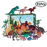 iBaseToy Dinosaurier Spielzeug 31 Pack, 15 Stück Kunststoff Dinosaurier Figuren + 15 Bäume und Steingarten + 1 Karte, Kindergeburtstag Party Dekoration für Kinder Jungen Mädchen