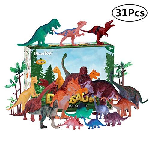 iBaseToy Dinosaurier Spielzeug, 15 Stück Kunststoff Dinosaurier Figuren + 15 Bäume und Steingarten + 1 Karte,  Kindergeburtstag Party Dekoration für Kinder Jungen Mädchen
