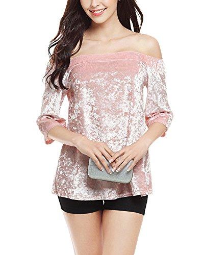 Donna Vestiti Senza Spalline Elegante Spalla di Parola Fuori Dalla Spalla Allentata T-shirt Camicetta Velluto Miniabito Pink