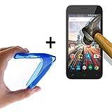 WoowCase - Flexible Gel Schutzhülle für [ Archos 50 Helium Plus] [ +1 Schutzglas ] Hartglas, Hülle Case TPU Silikon in Blau