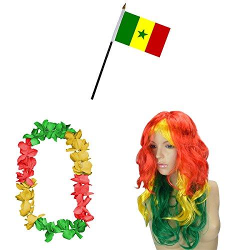 Preisvergleich Produktbild Sonia Originelli Fan-Paket-4 WM Fußball Locken Perücke Hawaiikette Flagge Party Farbe Senegal