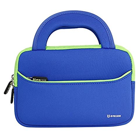 7 Inch Tablet Sleeve, Evecase Neoprene Bag Case Slim Briefcase w/ Handle & Accessory Pocket / Ultra Portable Travel Carrying Sleeve Portfolio Pouch Cover for Dragon Touch 7-inch Kids Tablet - Blue