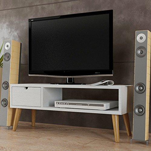 Hogar24.es-Mesa televisión, mueble tv salón diseño vintage, cajón y estante, madera maciza natural color blanco veta. 100 cm x 40 cm x 30 cm