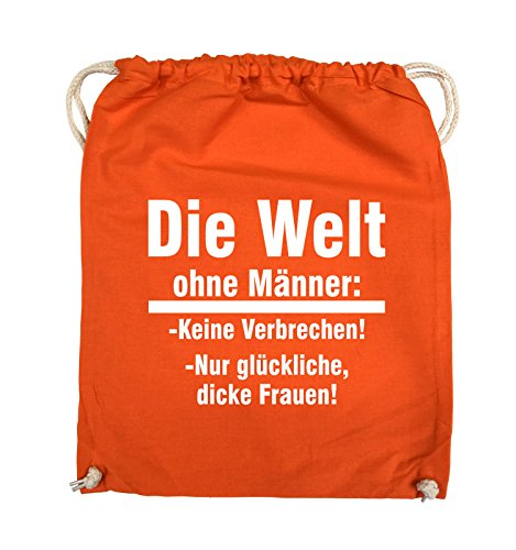 Comedy Bags - Die Welt ohne Männer - keine Verbrechen nur dicke Frauen - Turnbeutel - 37x46cm - Farbe: Schwarz / Pink Orange / Weiss