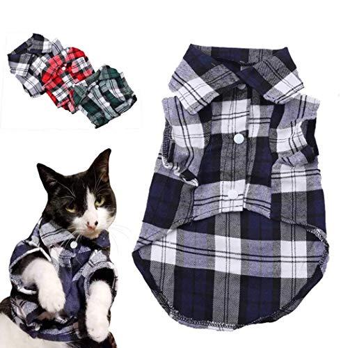 CYXYX Haustier-Entzückende Hundehemden Plaid-Hundehemden des Britischen Stils Haustier-Welpen-T-Shirt Kleidung Für Hunde Und Katzen S, M, L,Blue,L (Traditionelle Britische Kostüm)