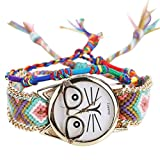 Gaddrt vansvar Native Handmade dames montres de quartz Vintage lunettes de montre amitié chat (A)