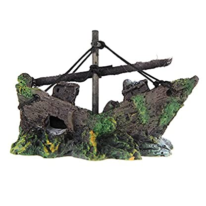 Broadroot Fish Tank Landscape Sailing Boat Shipwreck Shaped Ornament Aquarium Fish Tank Pirate Decor 1