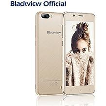 Móviles Baratos, Blackview A7 Smartphones libres Baratos - Android 7.0 Dual Cámara Trasera 3G Smartphones (8GB ROM, 5.0 pulgadas HD pantalla, Dual SIM, 2800mAh Batería, Quad Core) - Oro