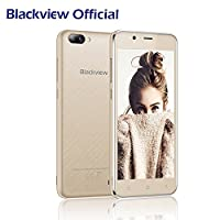 Dual Rear Camera Mobile Phone, Blackview A7 Dual SIM Free Cheap Phone Andriod 7.0 OS, Double 5MP+0.3MP Rear SAMSUNG Camera Lens, 5.0 Inch HD 1280*720 Display, 8GB ROM 2800mAh 3G Unlocked Smartphone-Gold