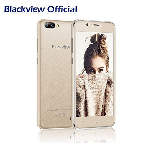 Handy Ohne Vertrag, Blackview A7 Dual Samsung Rückkameras (5 MP + 0.3 MP), Dual Sim Handy mit 5.0 Zoll HD Touch Display, Günstige Handy Android 7.0 mit 2800mAh Batterie-Gold