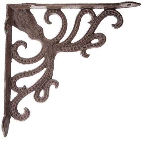 Tante Chris, die Produkte-Schweres Gusseisen --- Octopus Regalwinkel-(Lot/Set OF2)-Bronze rustikal Farbe Finish-Nautisches Design-Innen- oder Außeneinsatz -