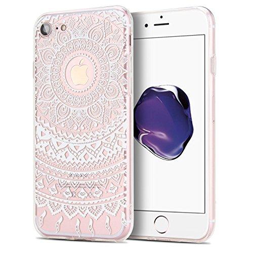 iPhone 7 Hülle, APICI Transparent TPU Case Silikon Tasche Hülle Silicon Protector Schutzhülle Handyhülle mit Weißem Blumenmuster für iPhone 7 (Weißem Blumenmuster)