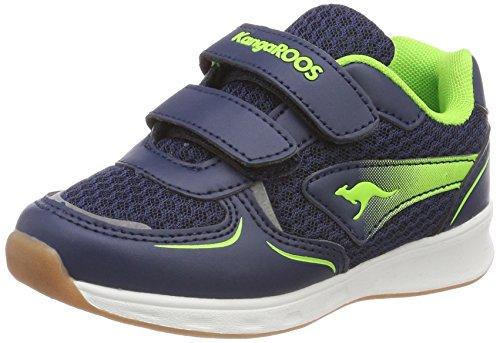 KangaROOS Unisex-Kinder Roji V Sneaker, Blau (Dk Navy/Lime), 30 EU
