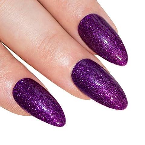 Bling Art Stiletto False Nails Gel Fake Acrylic Purple Glitter Medium 24 Tips UK