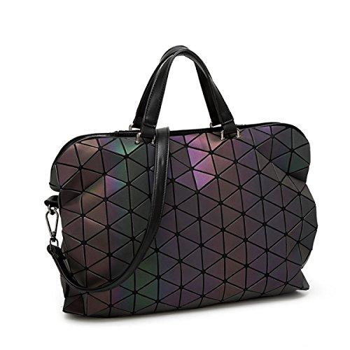 Im Japanischen Stil Damen Rhombus Tasche Trend Geometrische Nähen Leuchttasche Dokumententasche Falten Veränderbar Handtasche Rubiks Würfel Lingge Schultertasche,Large-OneSize