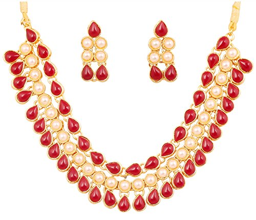 Touchstone Indian bollywood jadau art jewelry inspired faux ruby and pearls heavy bridal necklace set in gold tone for women.  available at amazon for Rs.479