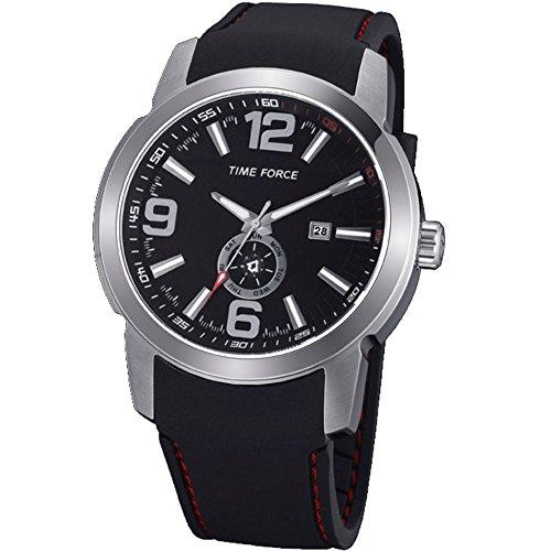Time Force TF4075 - Reloj analógico de caballero con calendario - Acero inoxidable y caucho
