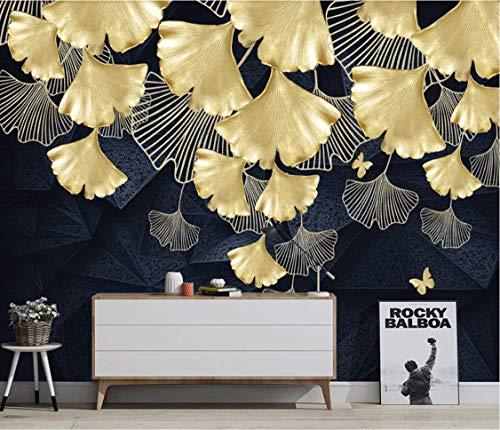 Tapete Kreative Gold 3D Ginkgo Blatt Diy Wandaufkleber Wohnzimmer Schlafzimmer Wandhaupt Art Deco Wand Seide Wandtapete 1㎡ Brauch Größe Fototapete