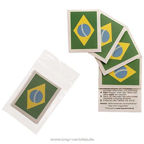5 x Brasilien Tattoo Fan Fahnen Set - WM 2018 Brazil temporary tattoo Flag (5) (Fahne Tattoo)