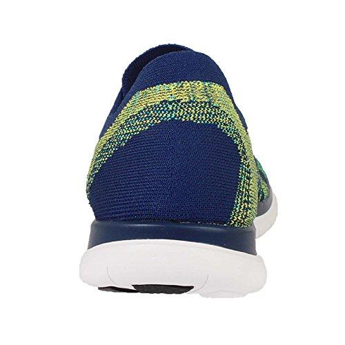 Nike Free 4.0 Flyknit, Chaussures de running homme Azul / Blanco / Verde (Brave Blue / White-Black-Volt)