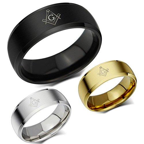 BOBIJOO Jewelry - Bague Alliance Anneau Inoxydable Argenté Doré Noir Homme Femme Franc Maçonnerie - 66 (11 US), Or jaune Noir titane