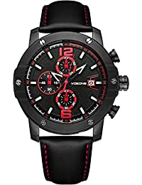 VOEONS Herren-Chronograph Leder Armbanduhr Minimalismus Herrenuhr Schwarz 6051