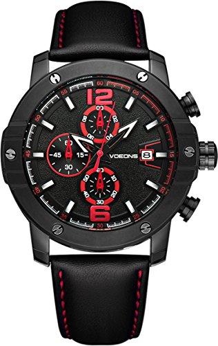 2018 NEU VOEONS Herren-Chronograph Leder Armbanduhr Minimalismus Herrenuhr Schwarz 6051