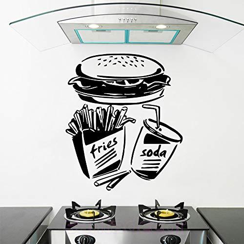 zxddzl Hamburguesa Romántica Restaurante Decal Vinilo Removible Cartel Mural para la Sala de Estar Decoración Arte de La Pared Sticker-87x75cm