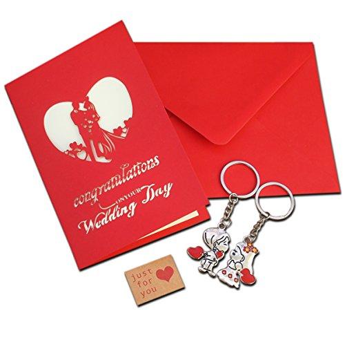 Carta di nozze set 3d pop up con coppia di sposi portachiavi, scarlatto, buste e love kraft sticker regalo matrimonio handmade cute cards keychain lover biglietto d' auguri