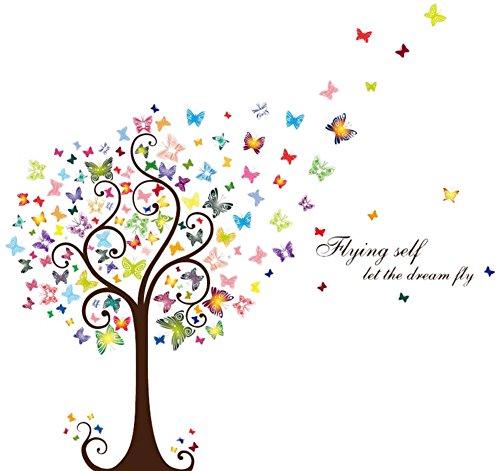 Hacoly Schmetterlinge Bäume Wandaufkleber Kreativität Wandsticker Glasfenster DIY selbstklebend Aufkleber Wandtattoo Esszimmer Wanddeko Ideal für die Dekoration Ihres Hauses