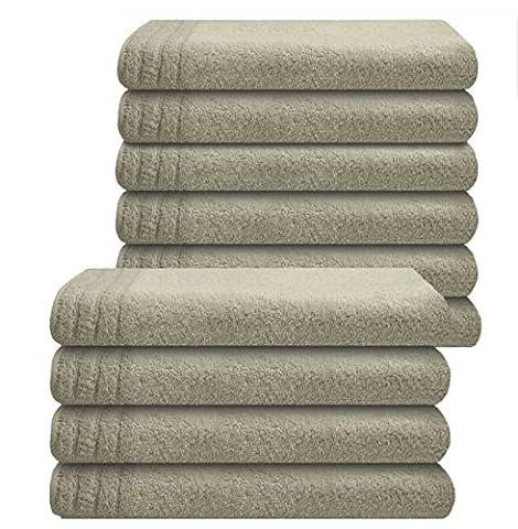 Gallant 10 tlg Gästehandtücher 30 x 50 cm Gästetücher grau silbergrau 100% Baumwolle Frottee Handtücher Set grau