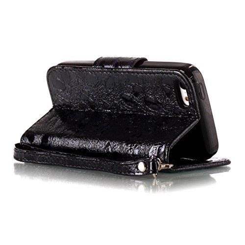 """MOONCASE iPhone 5c Flip Cover, [Butterfly Pattern] Leder Handyhülle Built-in Ständer TPU Stoßfest Schutz-tasche Case für iPhone 5c 4.0"""" Blau Schwarz"""