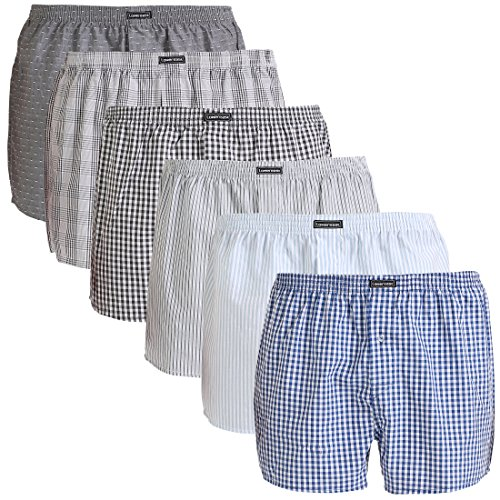 Lower East Herren Boxershorts American Style, 6er Pack, Mehrfarbig (Mustermix), X-Large