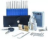 Yoopik Kit Ensemble de Crochetage Lockpicking Set Complet de 15 Pièces avec 2 Serrures d'entraînement - un Cadenas et Serrure à Double Cylindres, Housse de Transport et un guide pratique eBook