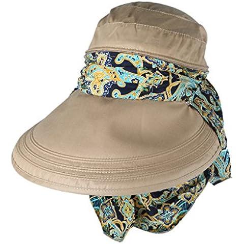 Sombrero De Sol Anti-ultravioleta De Ala Ancha Visera Casquillo Plegable para Mujer - Caqui