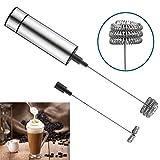 HBlife 2 Stk elektrischer Milchaufschäumer mit Edelstahlgehäuse und Edelstahlfeder batteriebetrieben Schaumbereiter Milchschäumer für kaffee Latte Cappuccino heiße Schokolade