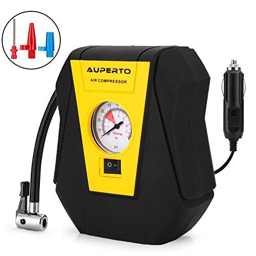 Analog Luftkompressor,AUPERTO 7 Bar/100 PSI 12V Tragbar Reifen Lüftkompressor für KFZ zum Auto Aufpumpen von Reifen, Bällen