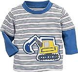 Schnizler Baby-Jungen Sweatshirt Langarmshirt Interlock Bagger Geringelt, Oeko-Tex Standard 100, Blau (Blau 7), 68