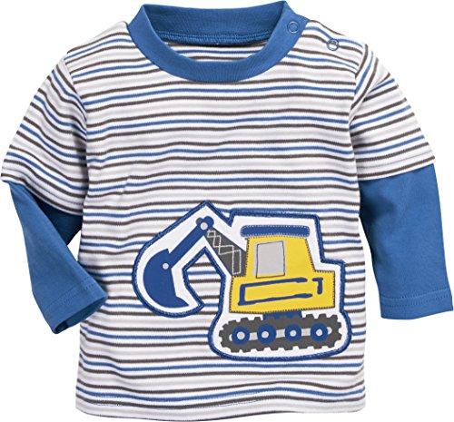 Schnizler Baby-Jungen Sweatshirt Langarmshirt Interlock Bagger Geringelt, Oeko-Tex Standard 100, Blau (Blau 7), 86