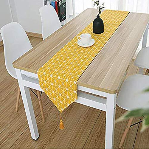 Bestenrose liefern Tischläufer/Tischdecke Dekoration 2 Seiten Baumwolle Leinen Klassische Tischwäsche Matte für Esszimmer Party Urlaub Dekoration (Gelb, 32 * 180cm)