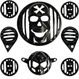 #7: AllExtreme Head light Heavy Grill with Indicator, Eyes Grill,Tail Light Grill Twinspark Combo for Royal Enfield Bullet Classic 350/500(8 Items)-Black
